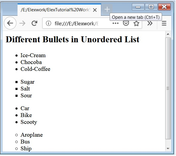 HTML Unordered List, HTML ul