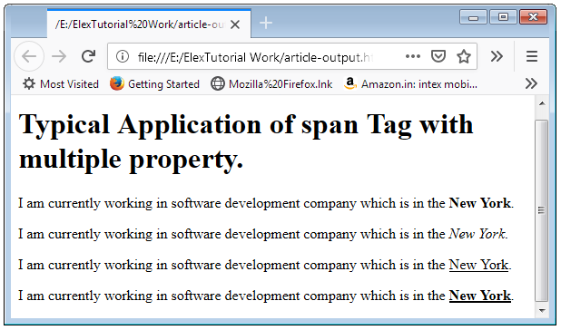 Span Tag in HTML Span Element in HTML