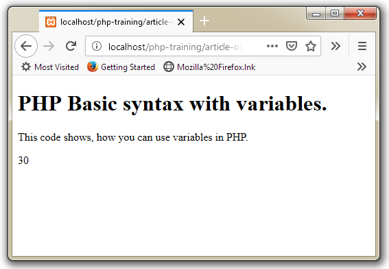 PHP Code with Variables