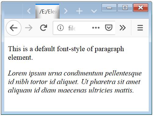 CSS Italic Font Styles Property Basic Example