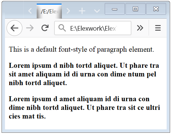 Bold Style HTML Text Example