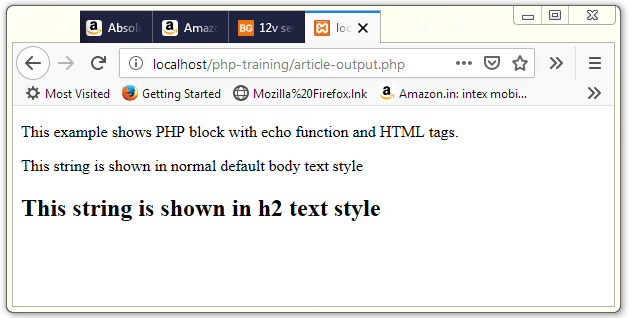 echo Example with HTML tag