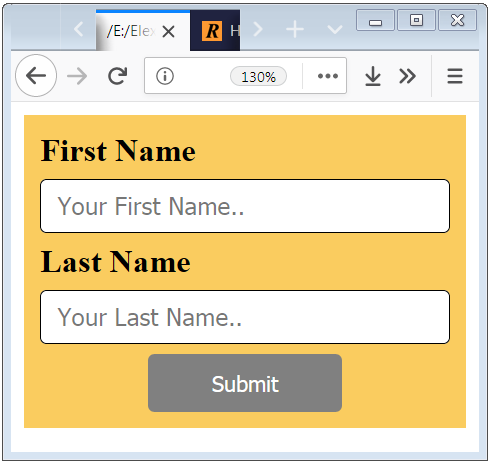 HTML form input design example