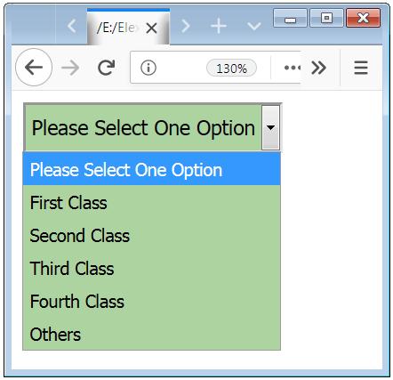 HTML Form Drop Down Element Design Example