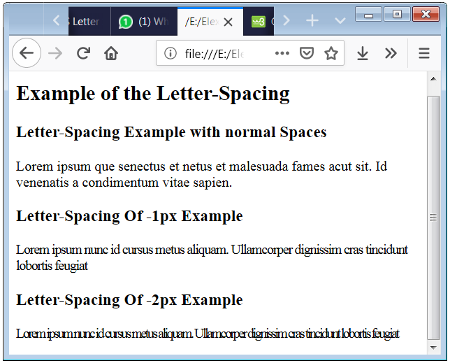 HTML Letter Spacing Example with p tag
