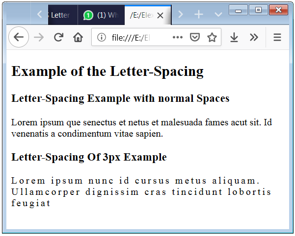 CSS Letter Spacing Example with p element