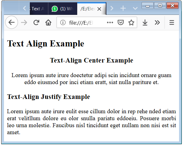HTML Text Align Property Syntax and Code Example to justify the Text