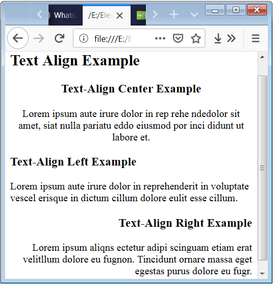 CSS Text Align Property Code Example with HTML p and heading elements