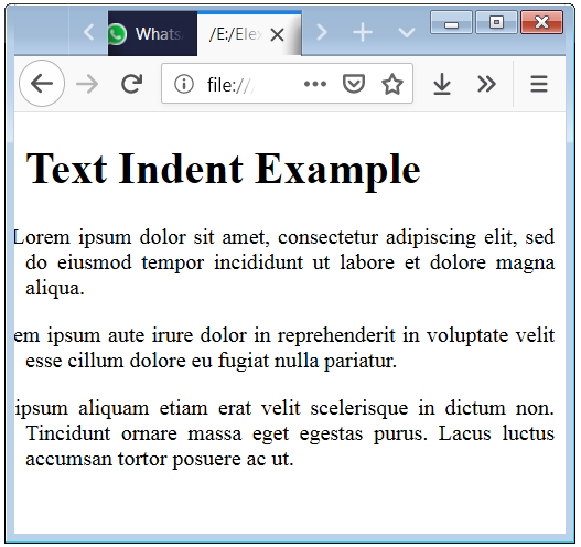 HTML Text Indent with negative value of Property