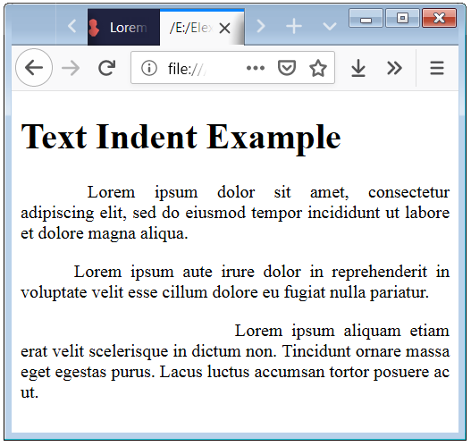CSS Text Indent Property Example Code and Syntax