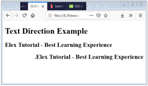 CSS Text Direction Text Direction