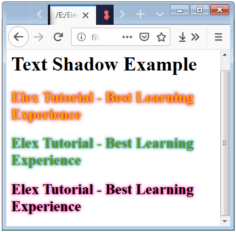 Text Shadow Examples with Neon effect