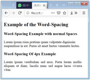 CSS Word Spacing Word Spacing
