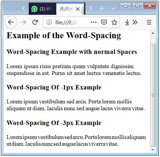 CSS Word Spacing Word Spacing in HTML