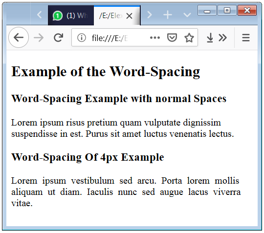 CSS Word Spacing Property Syntax and Code Example with p tag