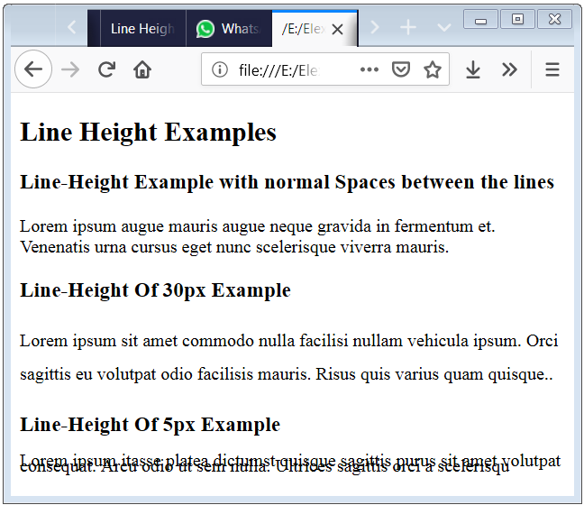 Line Height In HTML code Example to modify the distance between the lines