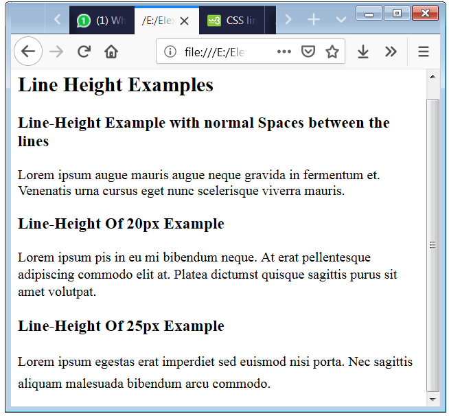 CSS Line Height Example Code with p tag