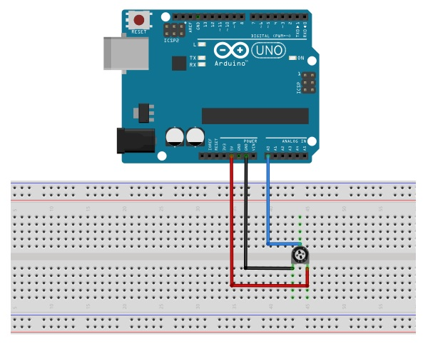Arduino Analog Input read from Pin with Potentiometer Wiring Example