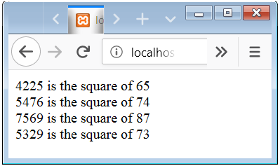 PHP Function Return the calculated square value