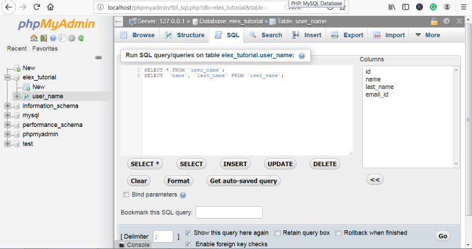 phpMyAdmin Select Query
