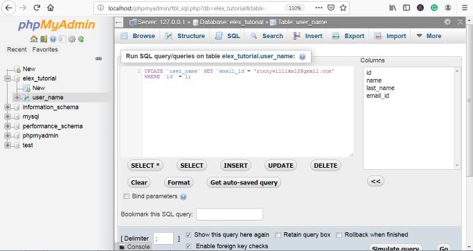 phpMyAdmin Update Query