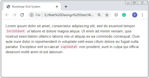 Bootstrap 3 Text Typography Code Tag