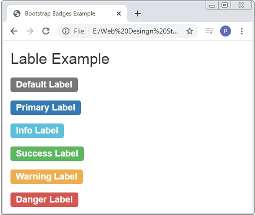 Bootstrap Lables Classes