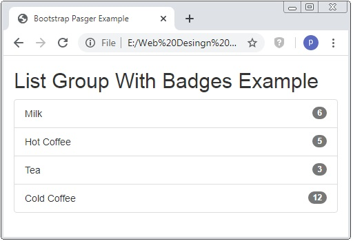 Bootstrap List Group Example