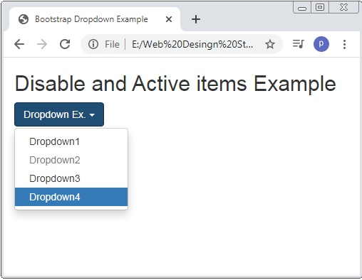 Bootstrap Disabled And Active Dropdowns