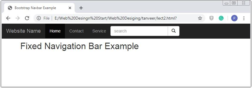 Bootstrap Fixed Navigation Bar