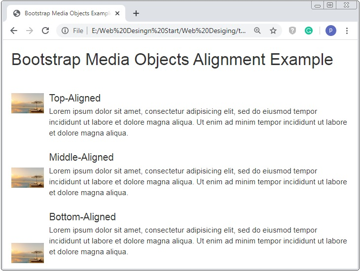 Bootstrap Media Object Alignment