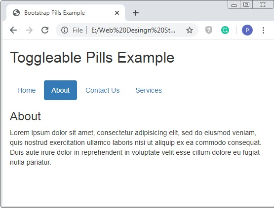Bootstrap Toggleable Pills