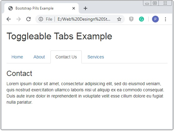Bootstrap Toggleable Tabs