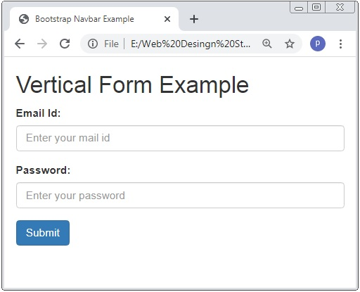 Bootstrap Vertical Form