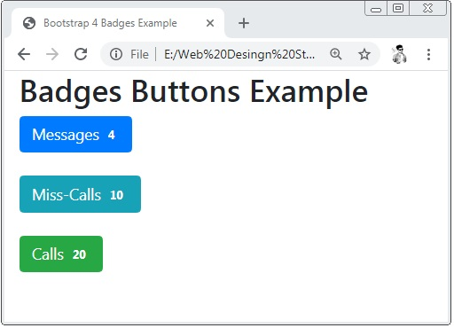 Bootstrap 4 Badges Buttons Example