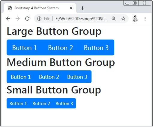 Bootstrap 4 Button Groups Sizes
