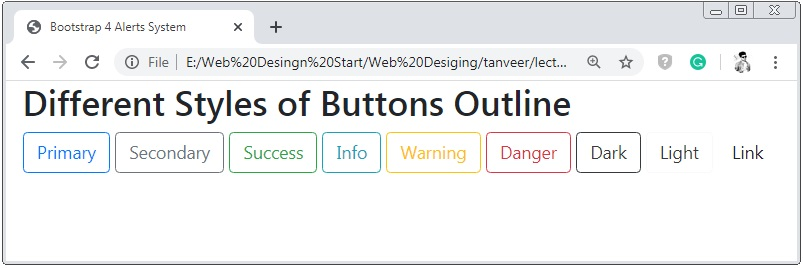 Bootstrap 4 Buttons Outline