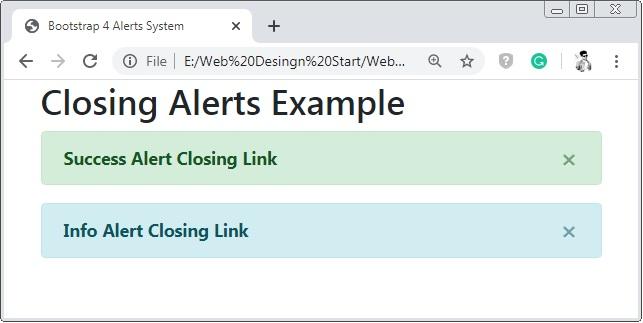 Bootstrap 4 Closing Alert Class