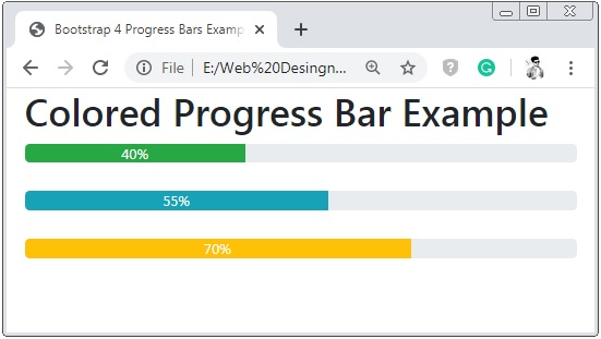 Bootstrap 4 Colored Progress Bar
