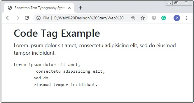 Bootstrap 4 Pre Tag Typography Example