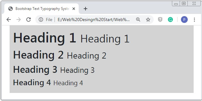 Bootstrap 4 Small Typography Example