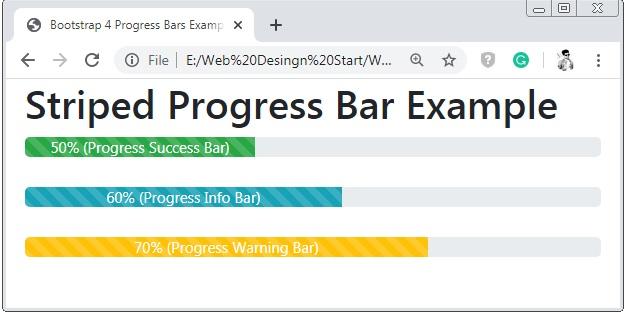 Bootstrap 4 Striped Progress Bar